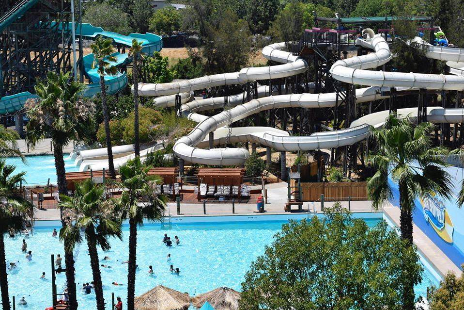 sky view of water park slides
