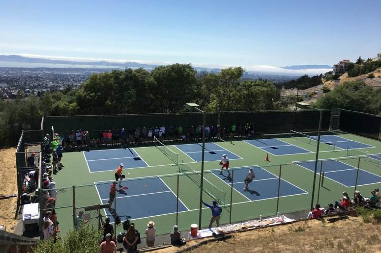 pickleball court on hillside