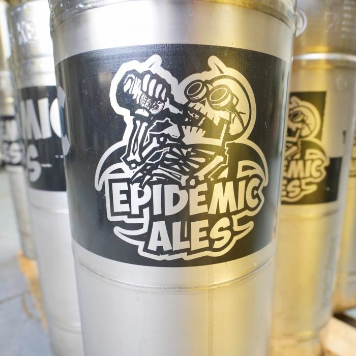 Pallet full of beer kegs from Epidemic Ales